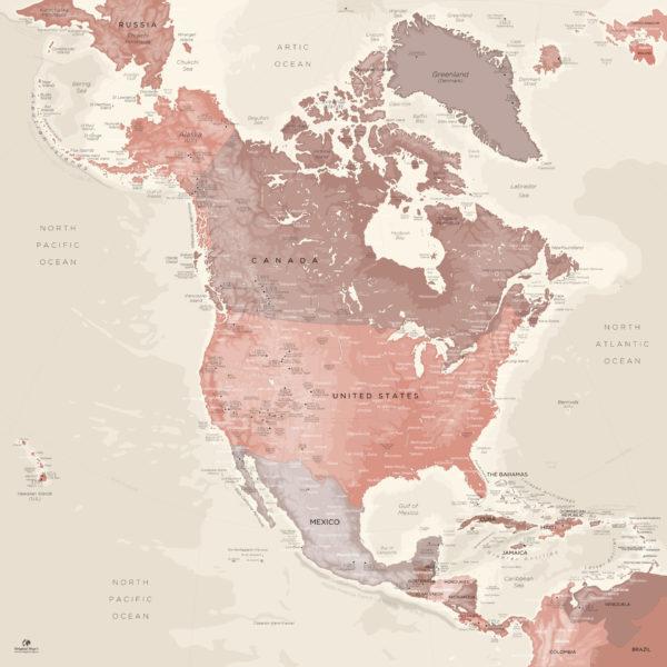 North-America-Map-Deco