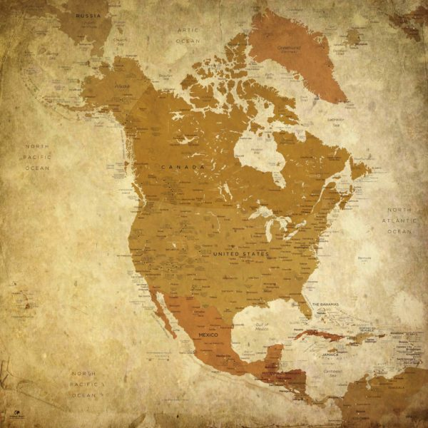 North-America-Map-Vintage