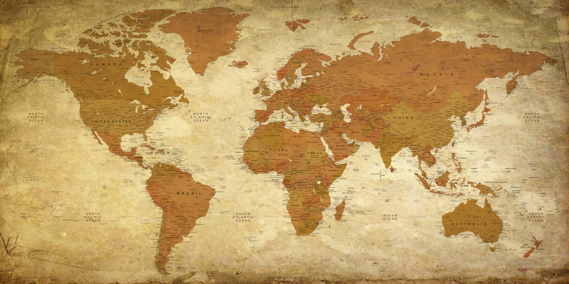 Vintage World Map Vintage World Map Decorative World Map