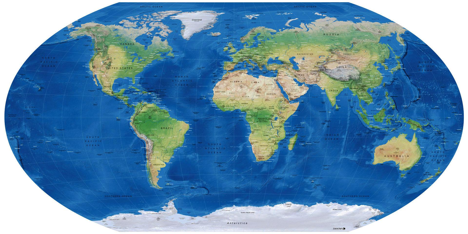 world map winkel-tripel projection