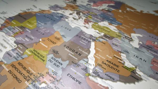 Transparent Plexiglas world map