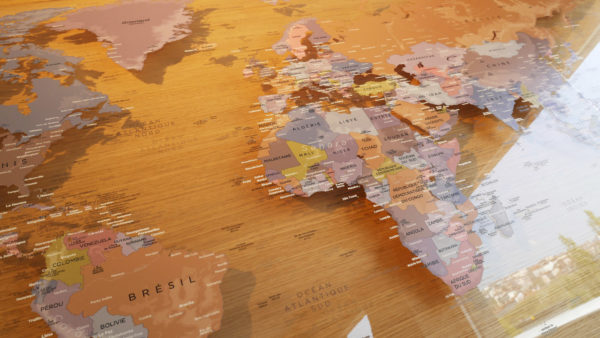 Transparent Plexiglas world map